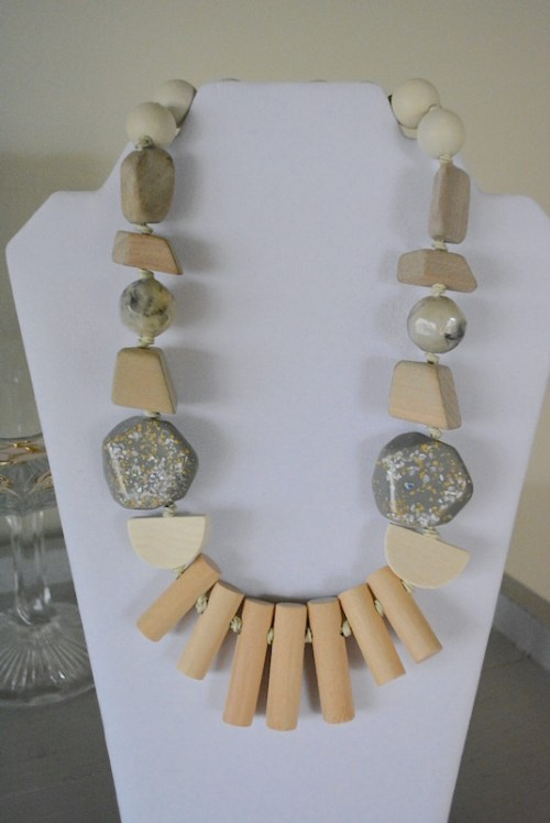 Neutrals Wooden Beaded Necklace, Beaded Necklace, Beaded Jewelry