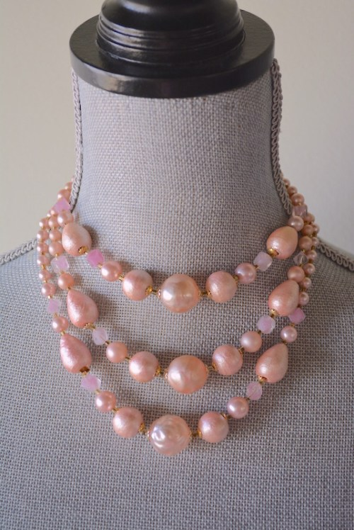 Cotton Candy Necklace, Vintage Pink Necklace, Pink Beaded Necklace, Baby Pink Beaded Necklace, Bubblegum Pink Beaded Earrings, Pink Necklace, Vintage Necklace