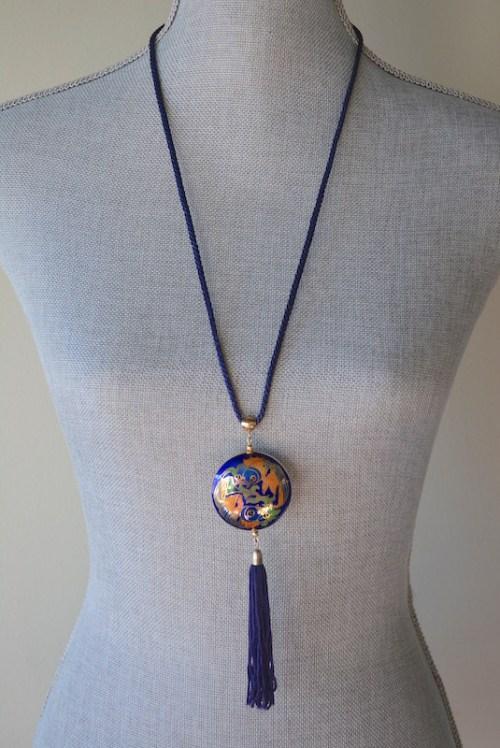 Fish Cloisonné Necklace, Cloisonne Jewelry, Cloisonne Necklace, Fish Necklace, Vintage Cloisonne Necklace, Vintage Fish Necklace
