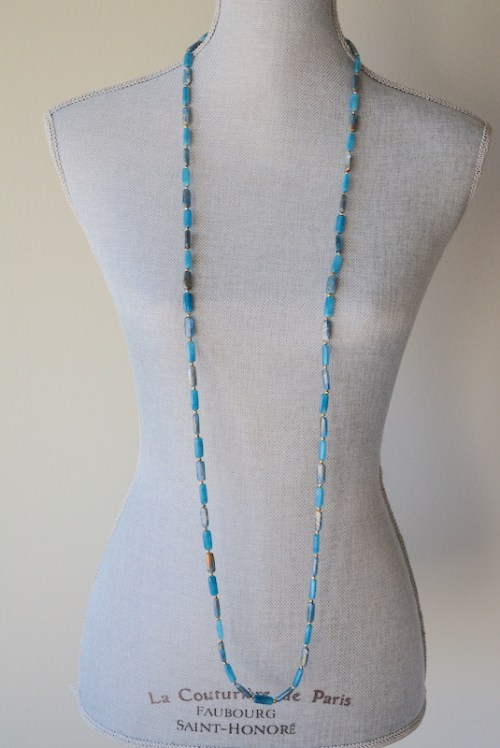 Long Blue Beaded Necklace, Blue Beaded Necklace, Vintage Blue Necklace, Blue Beaded Necklace