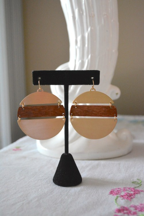 Gold and Wood Dial Earrings, Gold and Wood Earrings, Gold and Wood Dial Earrings, Gold Dial Earrings, Gold and Wooden Earrings, Boho Earrings, Boho Jewelry, Bohemian Jewelry