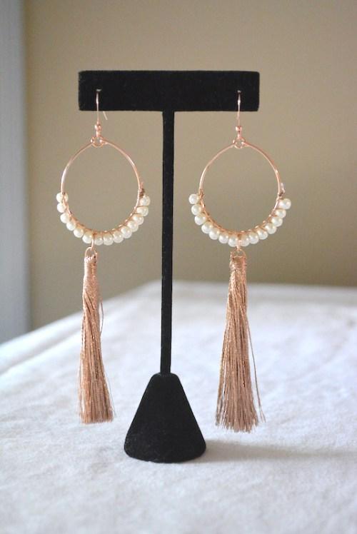 Pearl Hoop Fringe Earrings, Statement Earrings