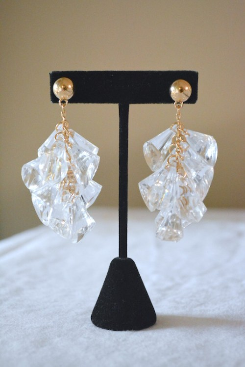 Crystals Earrings, Crystal Earrings, Gold and Clear Earrings, Clear Earrings, Falling Earrings, Cluster Earrings, Clear Cluster Earrings, Falling Earrings