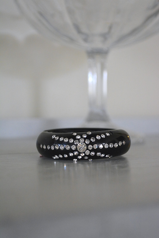 Black Rhinestone Bracelet, Vintage Bracelet, Unsigned Weiss, Hollywood Glam, Black Bracelet