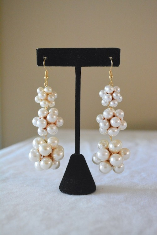 Pearl Balls Earrings, Pearl Earrings, Bridal Earrings, Wedding Jewelry, Bride, Pearl Drop Earrings, Pearl Chandelier Earrings