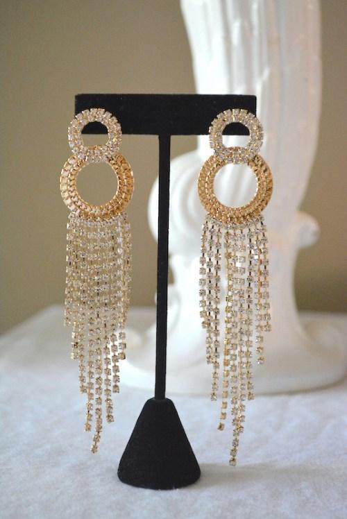 Glam Rock Earrings, 1970's Earrings, Studio 54 Jewelry, Rhinestone Earrings, Gold and Rhinestone Earrings