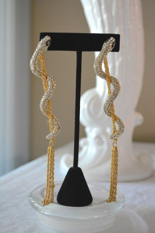 Snake Fringe Earrings, Snake Earrings, Rhinestone Snake Earrings, Snake Jewelry, Glam Rock Jewelry, 1970s Glam Earrings, 1970s Inspired Jewelry