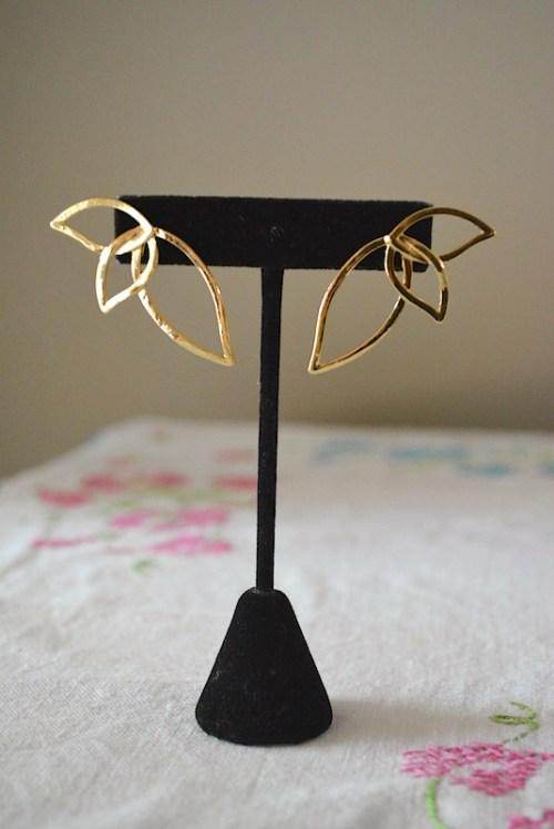 Gold Petal Earrings, Gold Leaf Earrings, Gold Leaves Earrings, Gold Earrings