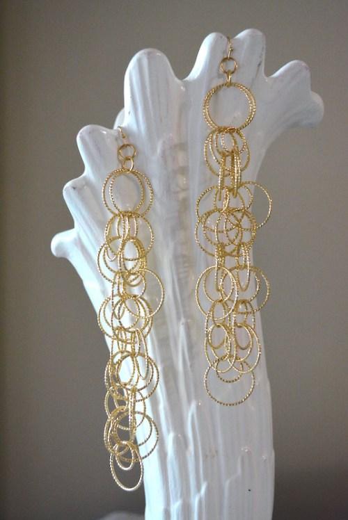 Gold Rings Earrings, Gold Earrings, Statement Earrings, Gold Ring Earrings