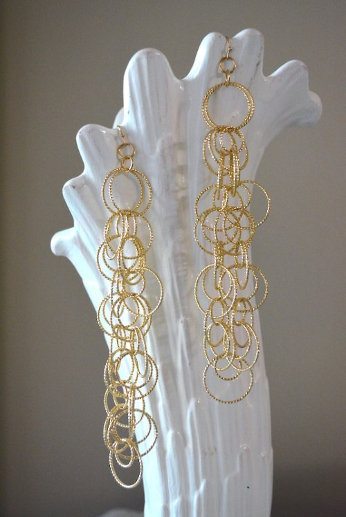 Gold Rings Earrings, Gold Earrings, Statement Earrings, Gold Ring Earrings