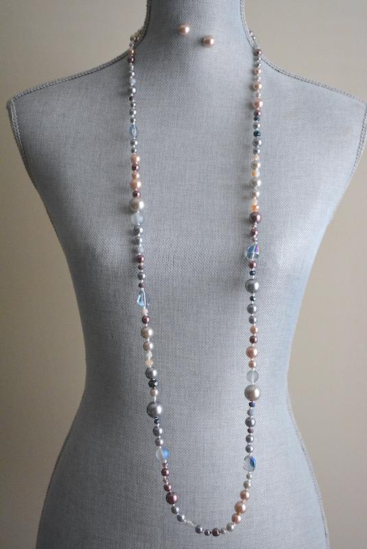 Long Purples Necklace Set, Purple Jewelry, Purple Necklace, Beaded Necklace