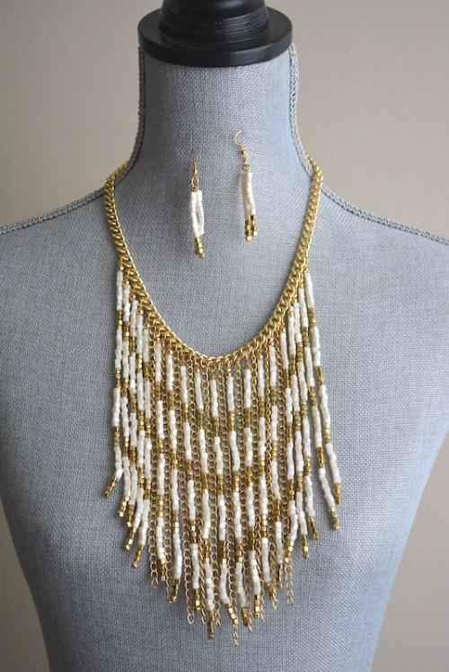 Gold and White Fringe Necklace Set, Fringe Necklace, Gold and White Necklace Set, White and Gold Jewelry, Necklace and Earrings, Boho Jewelry