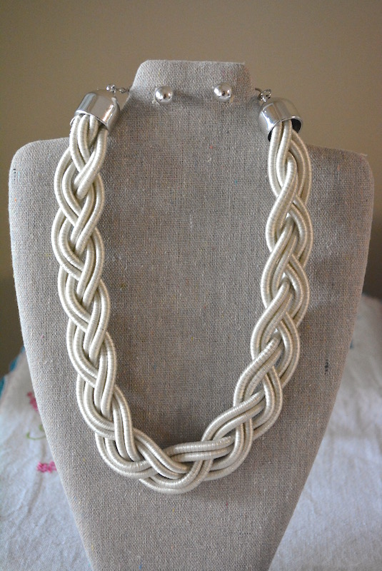 Silver Cord Necklace Set, Silver Braided Necklace Set, Silver Necklace and Earrings, Necklace and Earrings