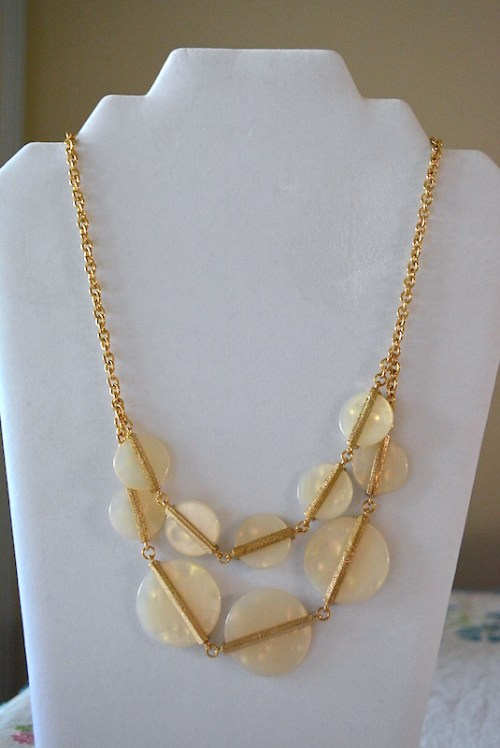 White Shell Necklace, White Shell Jewelry, White and Gold Necklace, Gold and White Necklace
