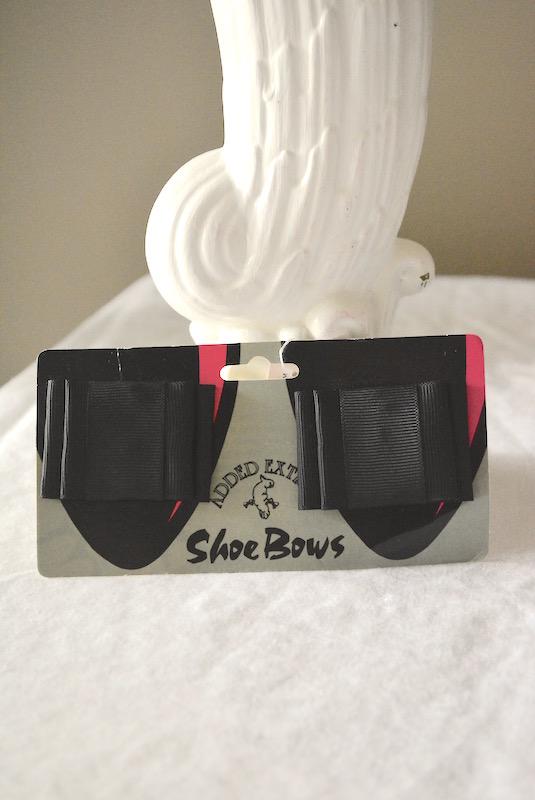 Black Shoe Bows, Show Bows, Shoe Jewelry, Shoe Clips, Black Ribbons, Vintage Shoe Clips
