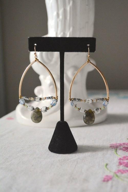 Beaded Teardrop Earrings, Teardrop Earrings, Grey Teardrop Earrings, Boho Jewelry, Boho Chic, Boho Style, Boho Style Jewelry, Bohemian Style, Beaded Earrings, Beaded Jewelry