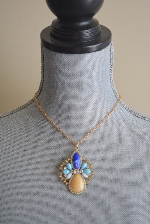 Jacobean Necklace, Medallion Necklace, Blue Medallion Necklace, Jacobean Medallion Necklace, Statement Necklace, Statement Jewelry