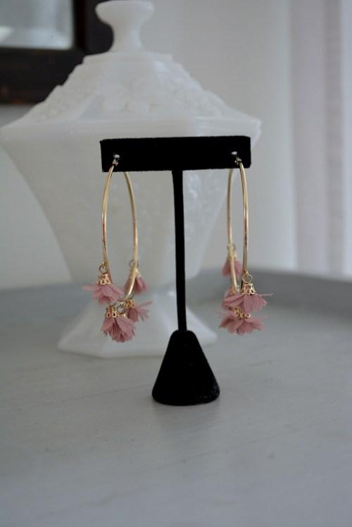 Pink Flower Hoop Earrings, Flower Jewelry, Fabric Flower Jewelry, Hoop Earrings