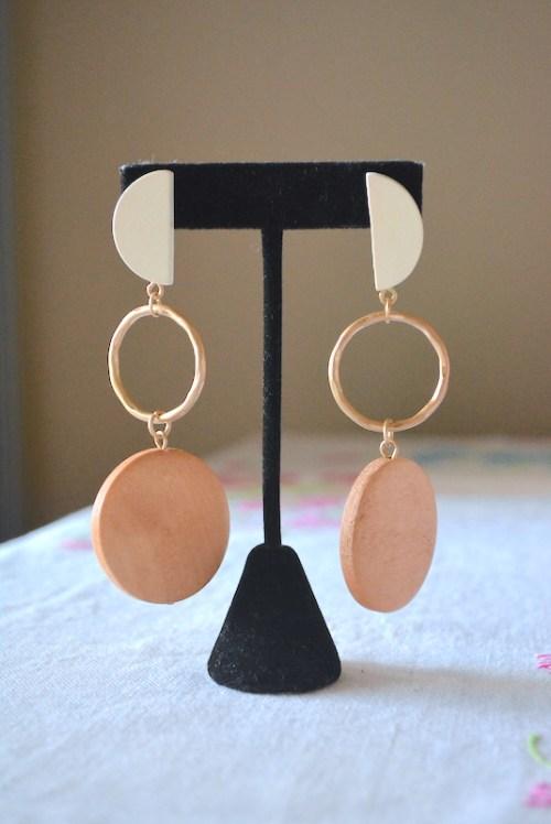Mixed Wood Earrings, Wood Earrings, Gold and Wood Earrings, Gold and Wood Dial Earrings, Geometric Earrings, Geometric Jewelry, Summer Jewelry,
