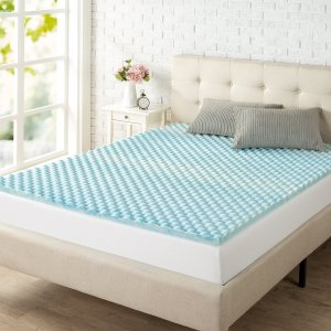 Zinus 1.5 Inch Swirl Gel Memory Foam Air Flow Topper – Best Egg Crate Mattress Topper