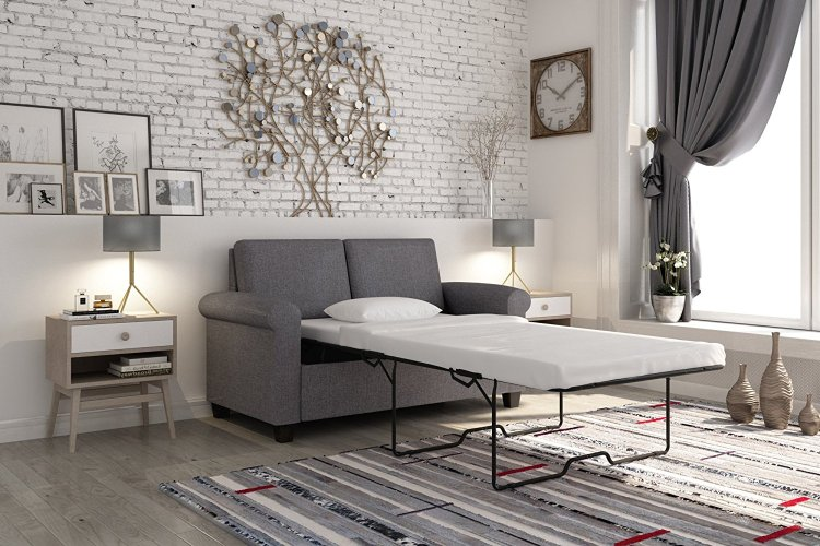 DHP Premium Twin Size Gray Linen Sofa Pull Out Bed