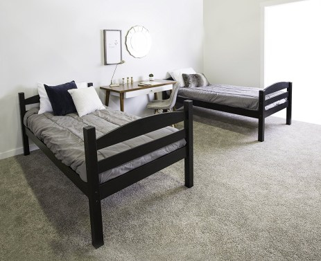 WE Furniture Solid Wood Twin Over Twin Bunk Bed
