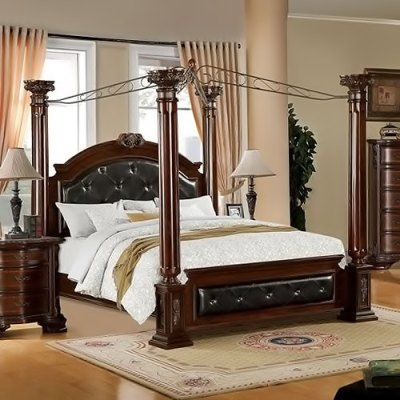 247SHOPATHOME IDF 7271Q brown Cherry Finish Four Poster Beds
