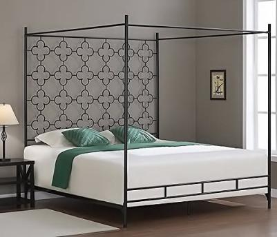Quatrafoil Metal Canopy King Sized Adult Kids Princess Bed