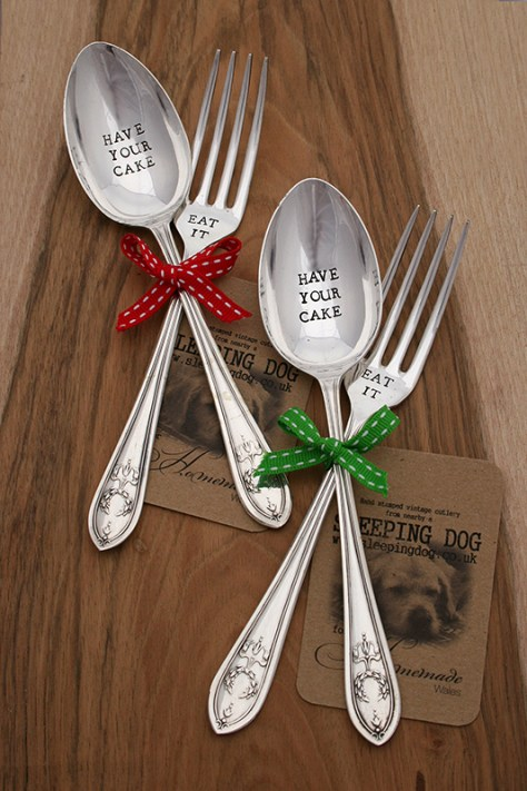 Hand Stamped Spoon & Fork - Have Your Cake & Eat It