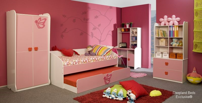pink princess butterfly trundle bed & pink kids bedroom furniture set