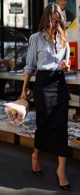 Longue jupe noire pour un look plus working girl