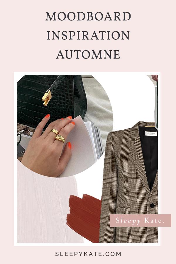Je partage avec vous mon moodboard avec mes Inspirations de couleurs, motifs, style et de tenues pour cet d'automne !