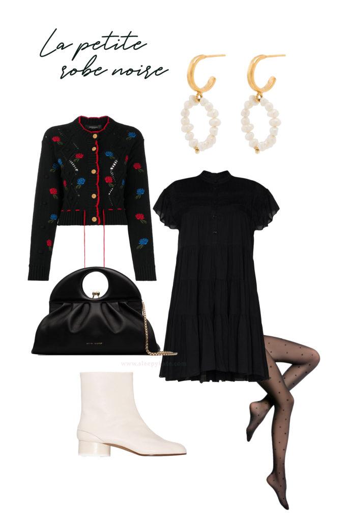 Vous cherchez des idées de tenues pour les fêtes de fin d'année? Je vous aide à créer des looks faciles avec ce qui se trouve déjà dans votre garde-robe! La petite robe noire, un cardigan original, des collants plumetis et des bottines blanches!