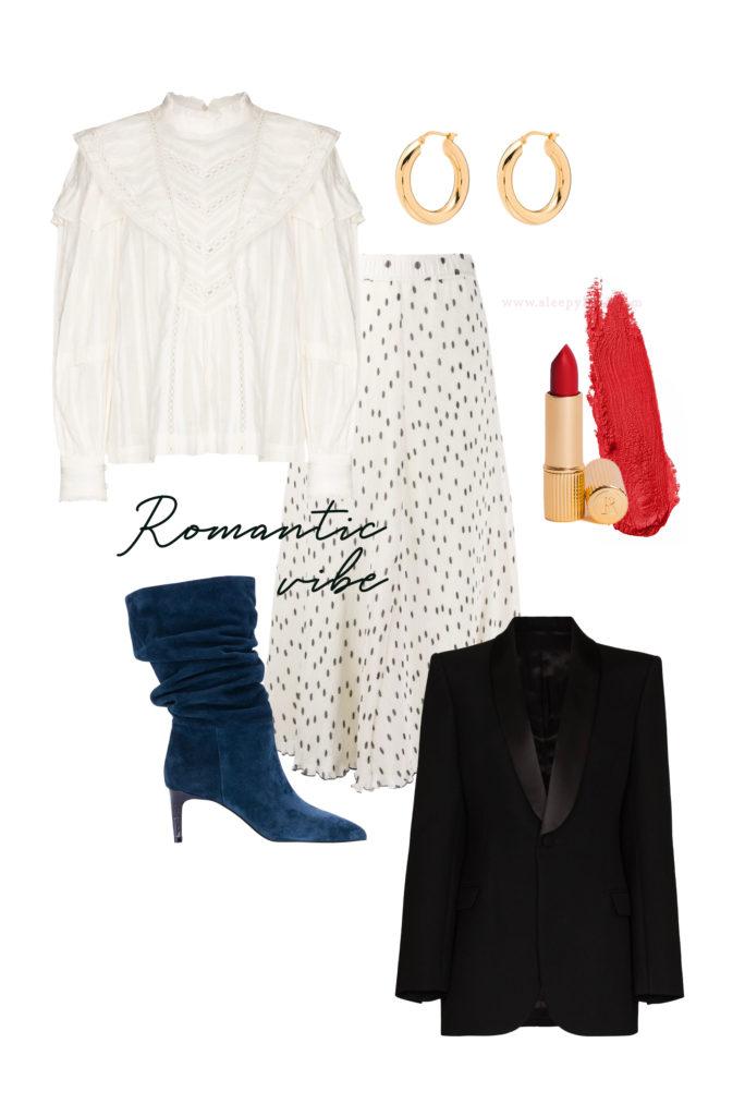Vous cherchez des idées de tenues pour les fêtes de fin d'année? Je vous aide à créer des looks faciles avec ce qui se trouve déjà dans votre garde-robe! Une blouse romantique, une jupe midi à pois, un blazer noir, des bottines bleues nuit et une rouge à lèvres rouge!