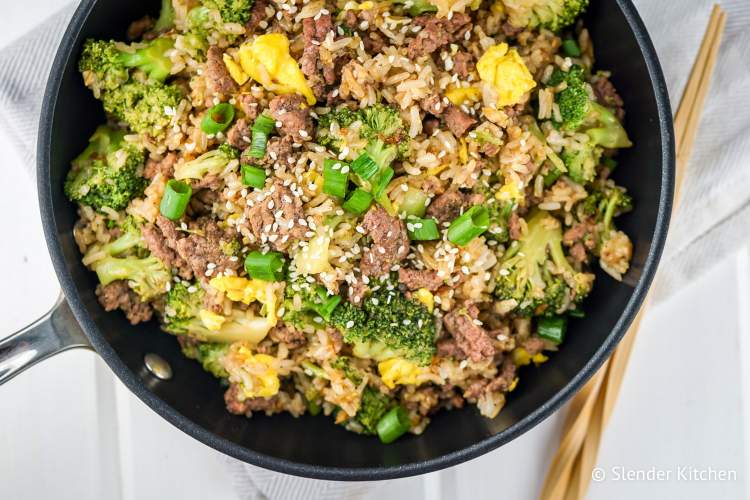 Weight Watchers Freestyle plan with a pan of beef fried rice.