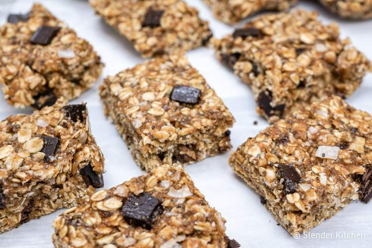 Healthy banana oat bar recipe with chocolate chips on parchment paper.