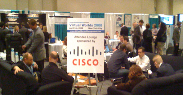 Cisco had a great presence there and offered a couch seating area with coffee for those with cramping legs and caffeine addictions.