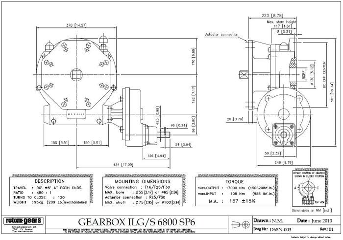 ROTORK ILG-S SERIES OVERRIDE GEAR OPERATOR ILGS 6800/SP6