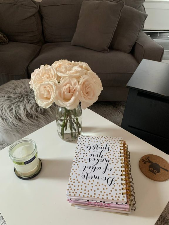 Coffee table with flowers