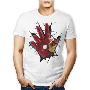 Tshirt personalizzata 100% cotone con la mano di iron man marvel avenger su maglietta bianca