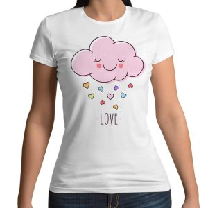 Tshirt 100% cotone con stampa frontale di una nuvola rosa con cuoricini e la scritta love su base bianca
