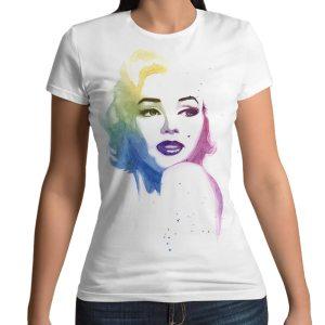 Tshirt 100% cotone con stampa frontale Marilyn Monroe arcobaleno su maglietta bianca