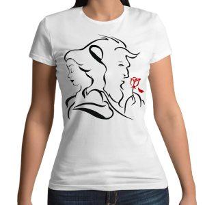 Tshirt 100% cotone con stampa frontale La bella e la bestia disney su maglietta bianca