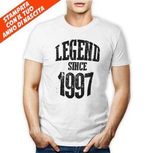 Tshirt maschile 100% cotone con stampa frontale Legend Since con il tuo anno di nascita su maglietta bianca