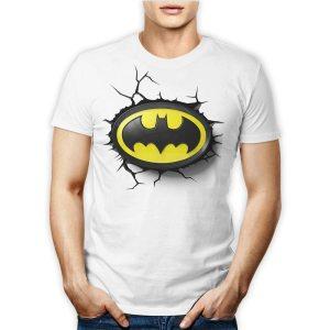 Tshirt 100% cotone personalizzata con il logo giallo di Batman, cavaliere oscuro su maglietta bianca