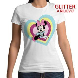 Tshirt 100% cotone con stampa frontale con Minnie Mouse e cuore glitterato viole su base bianca