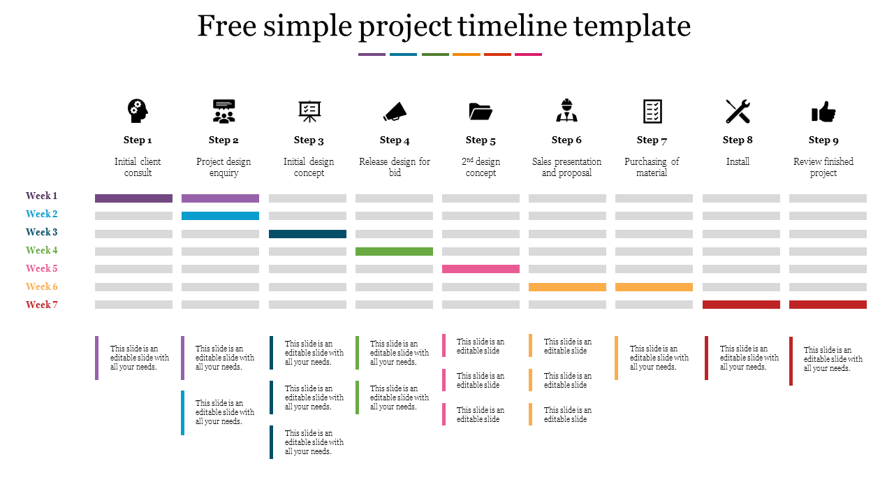 Update status throughout the project. Free Simple Project Timeline Template