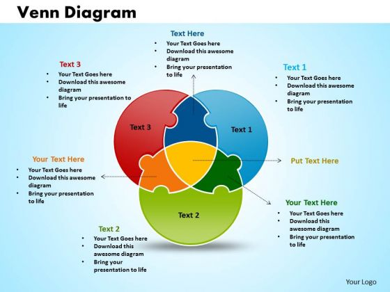 venn diagram puzzles kitchen ring main wiring business cycle process powerpoint templates circular puzzle ppt slides 1