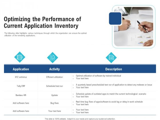 Download and create your own document with software application inventory template (217kb | 19 page(s)) for free. Enhance Enterprise Application Optimizing The Performance Of Current Application Inventory Slides Pdf Powerpoint Templates