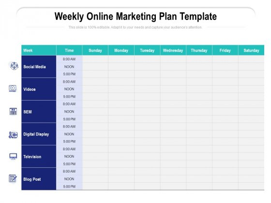 Are you thinking about remodeling your home? Weekly Online Marketing Plan Template Ppt Powerpoint Presentation Model Vector Pdf Powerpoint Templates